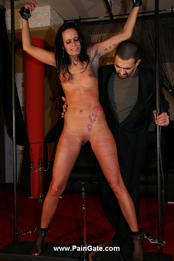 Extreme suspension and brutal pain for dildoed slaves 8